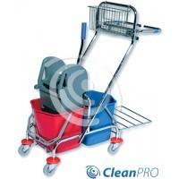 CleanPRO Wózek dwuwiaderkowy 2x17l z prasą, koszyczkiem i uchwytem na worek