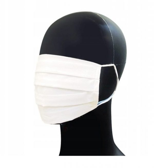 Maseczka biała bawełniana WIELOKROTNEGO UŻYTKU